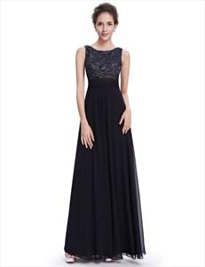 Elegant Black Chiffon A-Line Prom Dress With Embellished Bodice