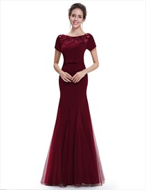 Burgundy Mermaid Sheer Illusion Neckline Prom Dress Lace Back Detail