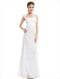 Ivory Lace Sheath Wedding Dress With Cap Sleeves And Open Back