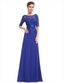 Royal Blue Mother Of The Bride Dress  With Lace Bodice