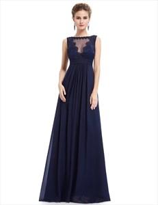 Navy Blue Illusion Neckline Chiffon Prom Dress With Lace Bodice