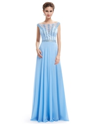 Light Blue Lace Illusion Neckline Chiffon Prom Dress With Beaded Bodice