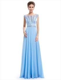 Light Blue Lace Illusion Neckline Chiffon Prom Dress With Beaded Bodice