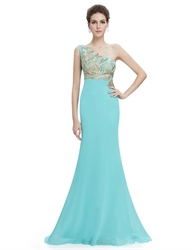 Mint Green One Shoulder Mermaid Chiffon Prom Dress With Gold Accents
