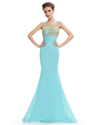 Mint Green Chiffon Mermaid Open Back Prom Dress With Embellished Bodice