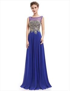 Elegant Royal Blue Sheer Illusion Neckline Chiffon Prom Dress