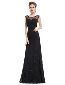 Black Floor Length Illusion Neck Prom Dress With Lace Applique