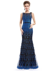 Unique Black And Blue Lace Sheer Illusion Neckline Mermaid Prom Dress