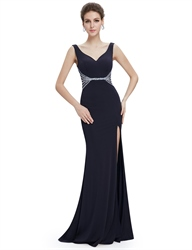 Black Mermaid Sleeveless V Neck Long Prom Dress With Beaded Waist