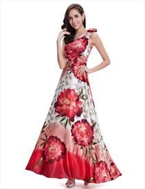 White And Red Floral Print One Shoulder Bridesmaid Dresses With Flower Detail