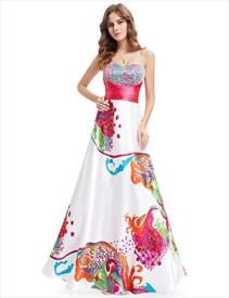 Multi Coloured Floral print Open Back Bridesmaid Dresses