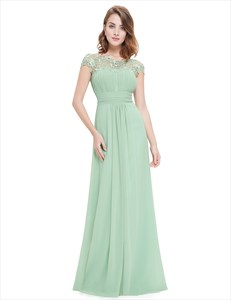 Mint Green Illusion Neckline Prom Dresses With Lace Applique