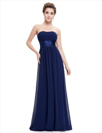 Navy Blue Long Open Back Chiffon Bridesmaid Dresses With Ruching