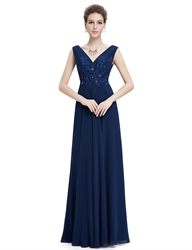 Navy Blue Floor Length Chiffon Prom Dress With Beaded Lace Applique
