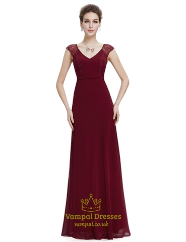 Burgundy A Line Chiffon Prom Dresses With Lace Cap Sleeves
