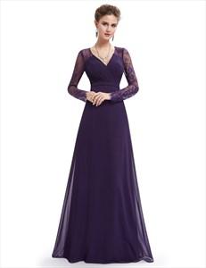 Purple V Neck Lace Long Sleeved Chiffon Prom Dress