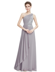 Grey One Shoulder Bridesmaid Desses With Lace Bodice