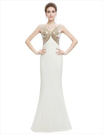 Ivory Chiffon Mermaid Sheer Back Prom Dress With Embellished Bodice