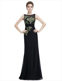Black Illusion Neckline Chiffon Prom Dress With Sequin Bodice