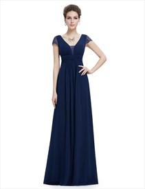 Navy Blue V Neck Chiffon Prom Dress With Ruching In Waist