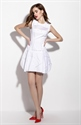 Simple White Embellished Sleeveless Fit And Flare Skater Dress