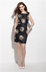Black Sleeveless Floral Print Sheath Cocktail Dress