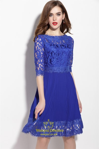 Royal Blue Lace Applique Fit And Flare Dress With 3/4 Sleeves