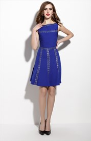 Royal Blue Lace Embroidered Sleeveless Fit And Flare Skater Dress