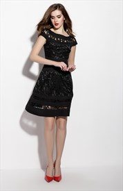 Black Lace Illusion Neckline Fit And Flare Skater Dress