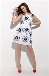 White And Black Sleeveless Floral Print Fit And Flare Dress