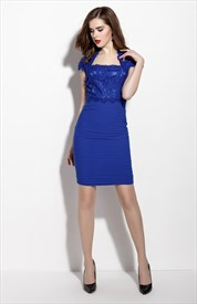 Royal Blue Lace Sheath Short Cocktail Dress With Cap Sleeves