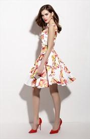 Floral Print Square Neckline Summer Fit And Flare Skater Dress