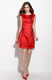 Red Embroidery Sleeveless Sheath Cocktail Dress