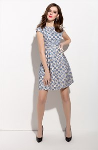 Blue And White Sheer Back Fit And Flare Plaid Dress With Cap Sleeves