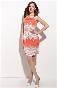 Casual Summer Orange And White Sleeveless Floral Print Dress