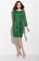 Emerald Green Long Sleeve Dress With Lace Embellished Bodice