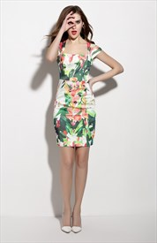 Square Neckline Floral Print Sheath Dress With Cap Sleeves