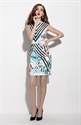 Sleeveless Chevron Floral Print Sheath Knee Length Dress