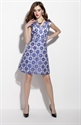 Navy Blue Sleeveless Floral Print Fit And Flare Skater Dress