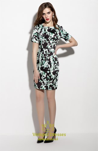 Black And Green Floral Print Sheath Dresses With Short Sleeve