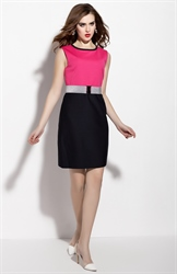Hot Pink And Black Sleeveless Sheath Dress With Belt