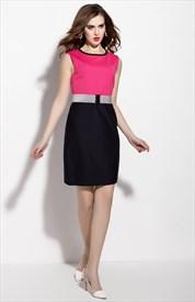 Hot Pink And Black Sleeveless Sheath Dress With Belt