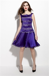 Purple Sleeveless Square Neckline Embellished A Line Dress