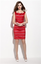 Red Square Neckline Sheath Hollow Out Summer Dress