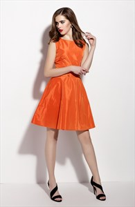 Orange Sleeveless Fit And Flare Skater Dress With Button Front
