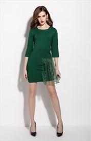 Emerald Green Tulle Overlay Sheath Dress With 3/4 Sleeve