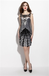 Black And White Sleeveless Illusion Neckline Sheath Dress