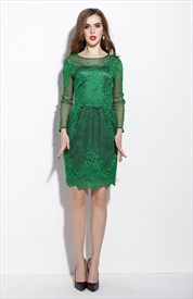 Emerald Green Sheer Illusion Neckline Tulle Overlay Cocktail Dress