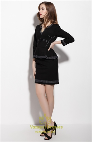 Black Long Sleeve Sheath Peplum Dress For Work Vampal Dresses