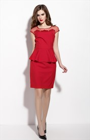 Red Illusion Neckline Peplum Dress With Lace Cap Sleeves